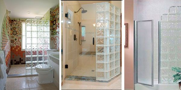 Baños con bloques de cristal